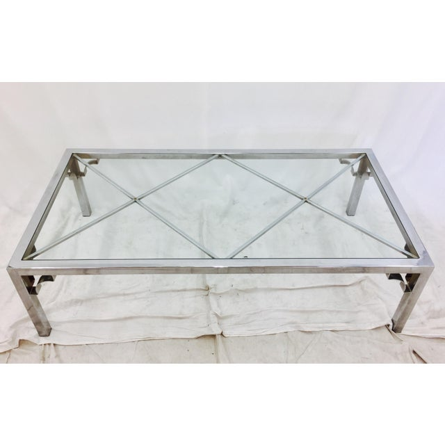 Mid Century Chrome And Glass Coffee Table: Vintage Mid-Century Modern Chrome & Glass Coffee Table