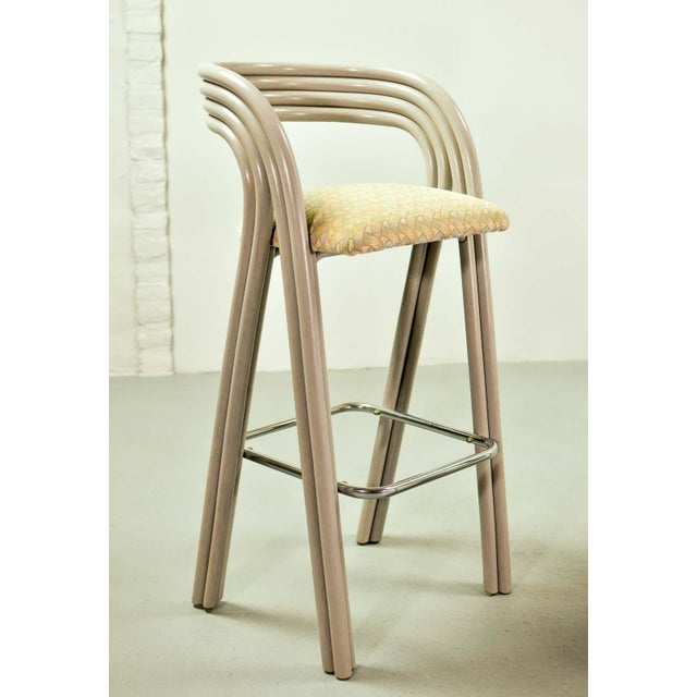 Set of Six Mid-Century Dutch Design Luxurious Bamboo Barstools by Axel Enthoven for Rohé Holland, 1980's For Sale - Image 10 of 13