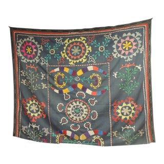 Large Colorful Floral Embroidered Vintage Suzani Panel For Sale