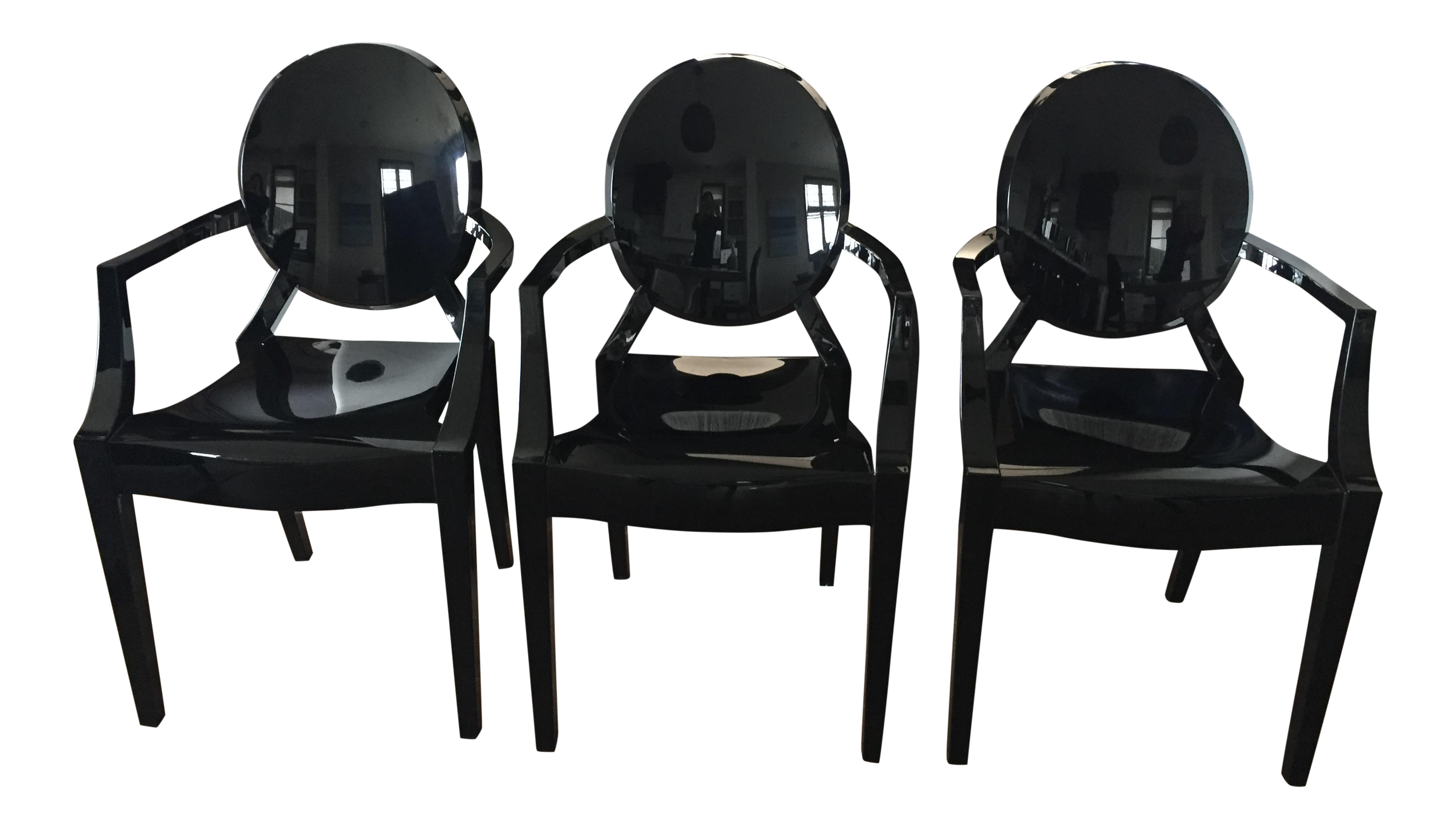 Kartell Louis Black Ghost Chairs   Set Of 3