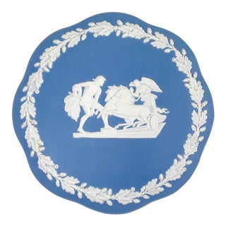 Vintage Blue and White Wedgwood Jasperware Round Covered Box For Sale