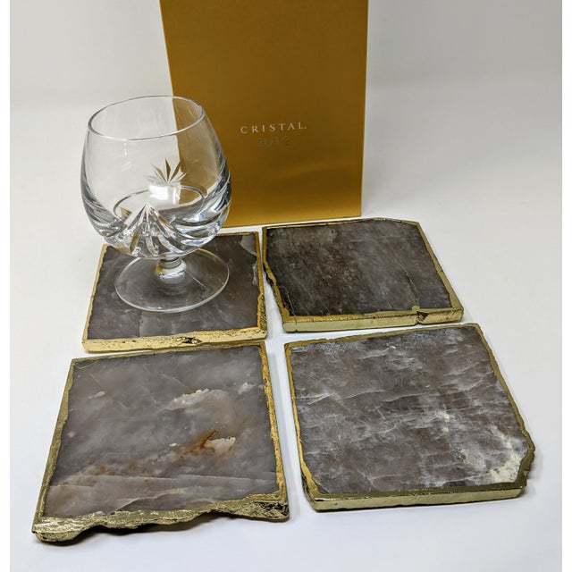 Early 21st Century Organic Modern Smoke Gray Agate Coasters With Gold Metal Edge - Set of Four (4) For Sale - Image 5 of 12