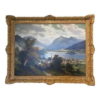 Framed Antique European Landscape Oil Painting For Sale