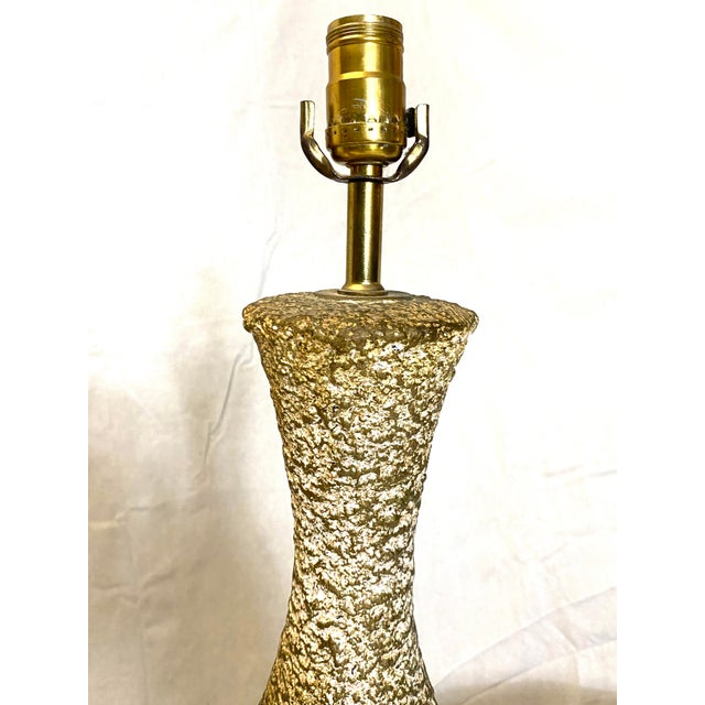 1970s Stunning Leviton Mid Century Modern Ceramic Pottery Table Lamps - a Pair For Sale - Image 5 of 13