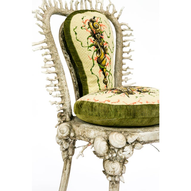 Aesthetic Movement White Fantasy Shell and Coral Chair With Embroidered Pillow For Sale - Image 3 of 13