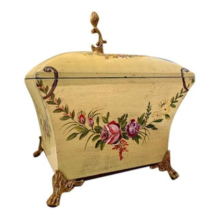 Maitland Smith Hand Painted Floral Box For Sale