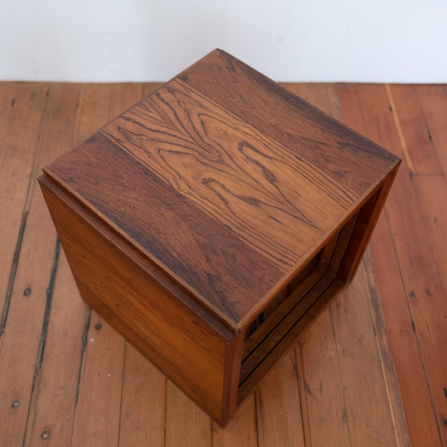 Wood Rosewood Kai Kristiansen Nesting Cube Tables For Sale - Image 7 of 12