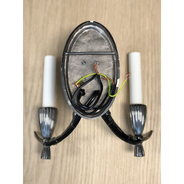 2000 - 2009 French Polished Heirloom Silver Finish Wired Wall Sconces - a Pair For Sale - Image 5 of 6