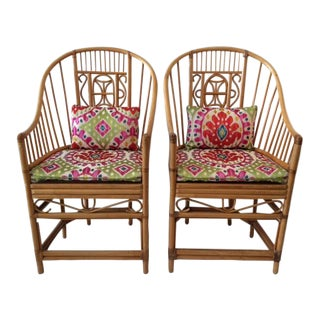 1970s Vintage Natural Rattan Barrel Chairs- A Pair For Sale