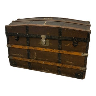 Antique Rustic Steamer Trunk For Sale