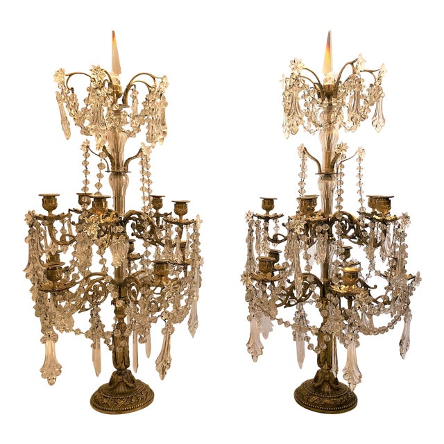 Pair Antique French Exceptional Baccarat Crystal and Bronze Girondolles. For Sale