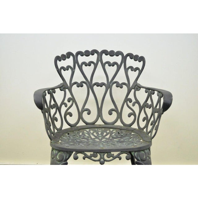 Vintage Cast Aluminum Heart Back French Style Patio Chairs - Set of 4 For Sale - Image 5 of 11
