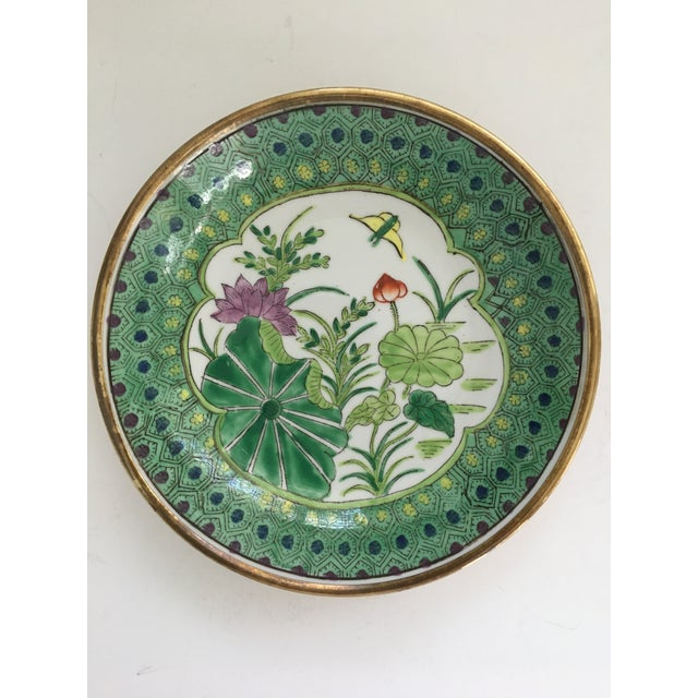Japanese Lotus Hand Painted Brass Encased Porcelain Bowl/Catchall For Sale - Image 13 of 13