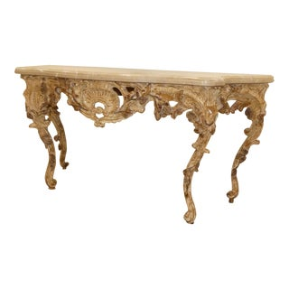 Marble Top Carved Wood Rococo Console Table