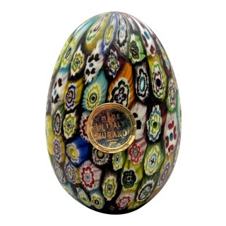 Italian Murano Millefiori Glass Egg Paperweight For Sale