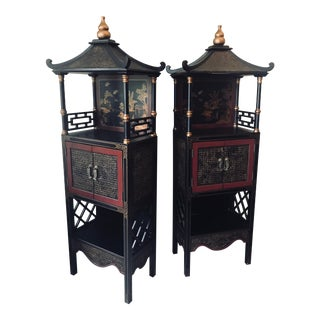 1990s Asian Black and Red Rattan Pagodas - a Pair