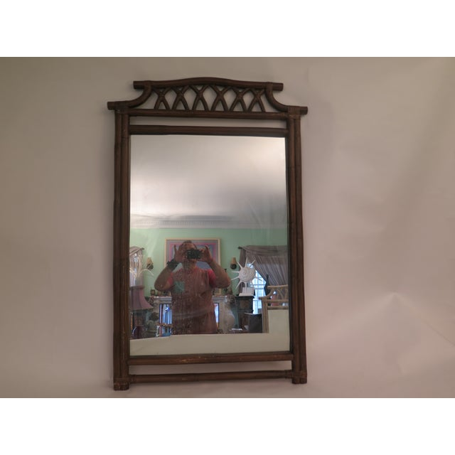 Asian 1970s Vintage Large Faux Bamboo Mirror For Sale - Image 3 of 3