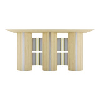 Modern Wood and Brass Stainless Steel Totem Console Table For Sale