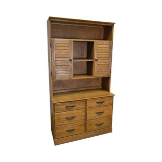Brandt Ranch Oak Rustic Bookcase Hutch Top Chest of Drawers