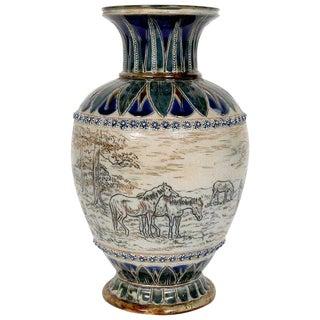 Doulton Lambeth Equestrian Vase by Hannah Barlow For Sale