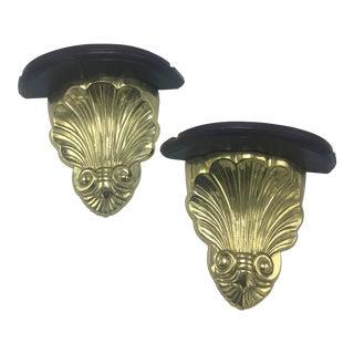Brass Wall Brackets, a Pair For Sale