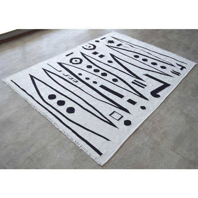 2010s Paul Klee - Heroic Strokes of the Bow - Inspired Silk Hand Woven Area - Wall Rug 5′ × 6′9″ For Sale - Image 5 of 11
