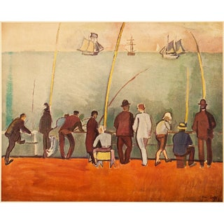 """1950s Raoul Dufy, Original Vintage Lithograph """"Fishermen With Lines"""" For Sale"""