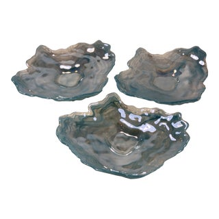 Aqua Iridescent Glass Oyster Dishes - Set of 3 For Sale