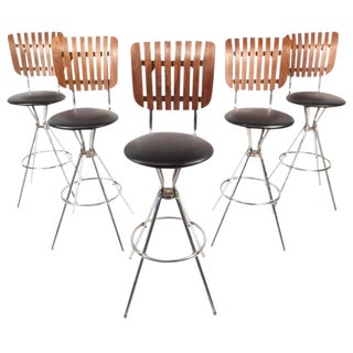 Mid-Century Modern Swivel Bar Stools - Set of 5 For Sale