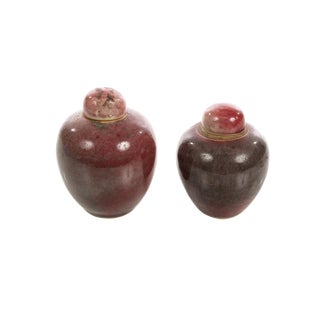 19th Century Chinese Red Flambe Porcelain Apple Urns - A Pair For Sale