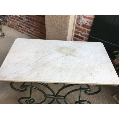 19th Century French Marble Pastry Baker's Table Art Nouveau Green Pâtisserie For Sale - Image 9 of 13