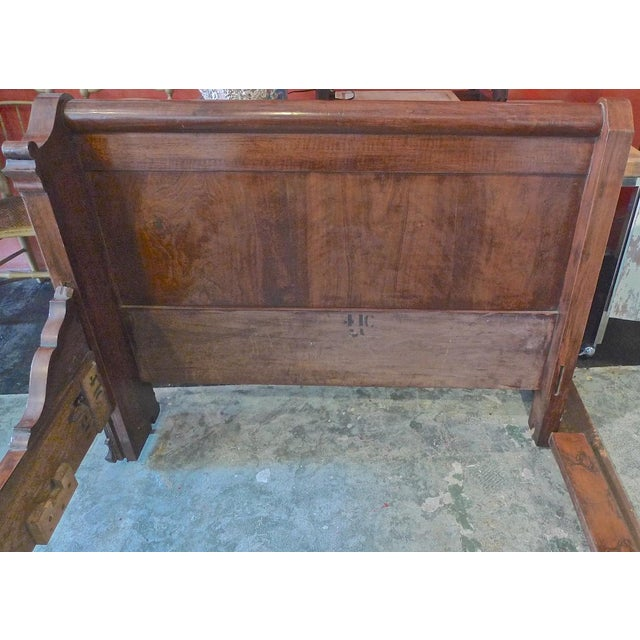 19th Century Country Louis Philippe Burled Walnut Bedframe For Sale In Los Angeles - Image 6 of 10