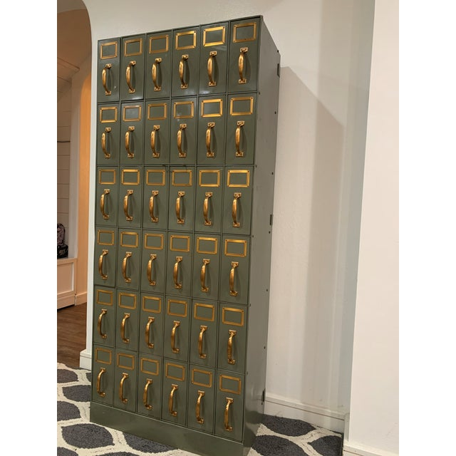 Mid 20th Century Mid 20th Century Vintage Industrial Filing Cabinets 36 Drawers-a Pair For Sale - Image 5 of 13
