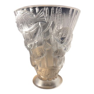 Tropical Theme Lalique Vase With Heavy Relief