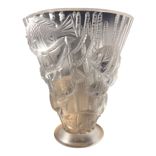 Tropical theme lalique vase with heavy relief chairish