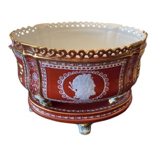 Mid 20th Century Porcelain Hand-Painted Limoges Planter For Sale