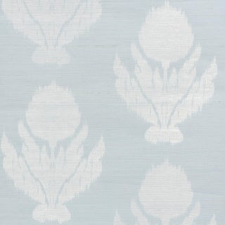 Sample - Schumacher Agra Sisal Wallpaper in Sky For Sale