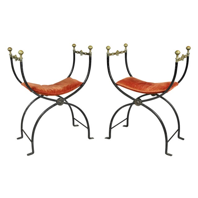 Italian Wrought Iron and Bronze Curule Chairs - a Pair For Sale