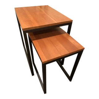 Transitional Ethan Allen Toby Nesting Tables - 2 Pieces For Sale