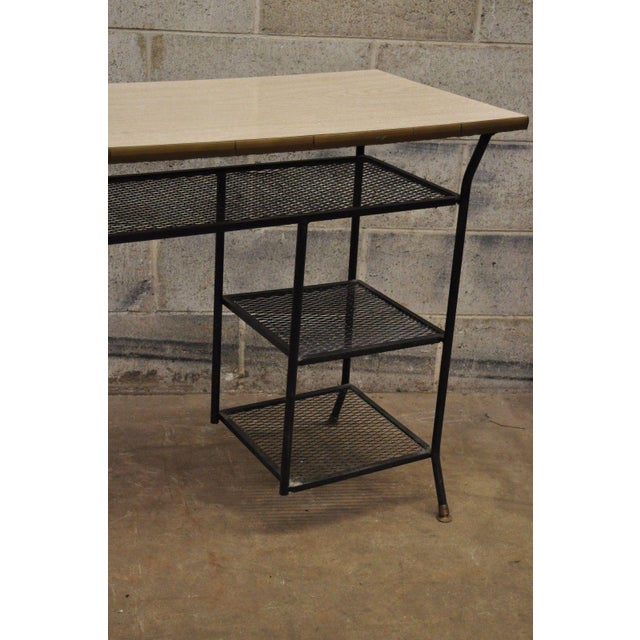 Mid 20th Century Vintage Mid-Century Modern Wrought Iron & Metal Mesh Small Writing Desk Work Table For Sale - Image 5 of 12