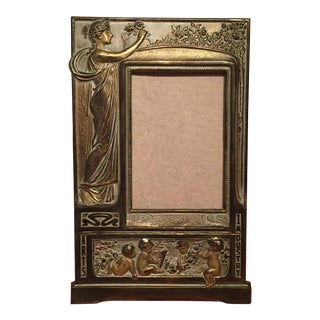 Vintage Art Nouveau Cast Iron Brass Picture Frame With Easel Back For Sale