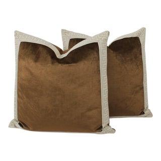 Coffee Velvet Greek Key Pillows, a Pair For Sale