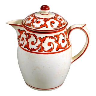 Creamware Covered Jug and Cover with Orange Foliate Scroll Designs