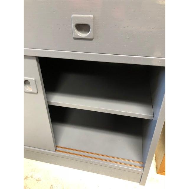 Felt 1970s Danish Modern Grey Lacquered Secretary Desk For Sale - Image 7 of 11
