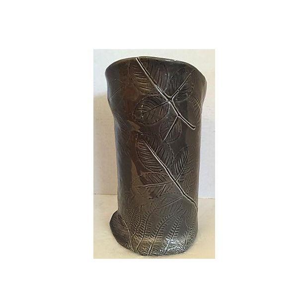 Dark Gray Vase with Leaf Design For Sale - Image 4 of 7