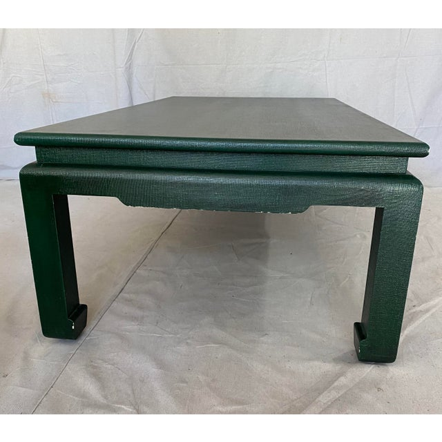 Minic Custom Woodwork Linen Grasscloth Wrapped Ming Coffee Table For Sale - Image 11 of 13