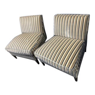 "Nancy Corzine ""Curtis Lounge"" Velvet Striped Slipper Chairs- a Pair For Sale"