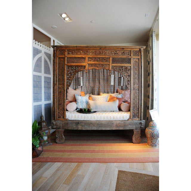 Antique Balinese Indian Boho Chic Teakwood Canopy Daybed in Elizabeth Eakins Fabrics For Sale - Image 11 of 13
