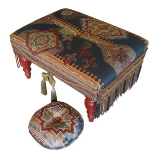 Vintage Boho Moroccan Style Ottoman & Matching Accent Pillow - 2 Pieces