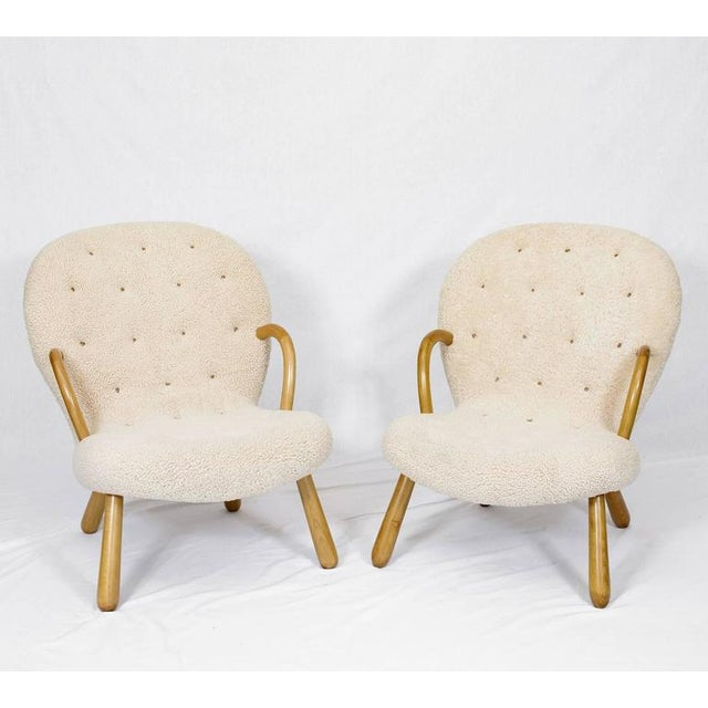 "Philip Arctander Pair of Philip Arctander ""Clam"" Chairs For Sale - Image 4 of 10"